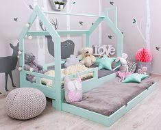 Lit cabane tiroir, avec lit supplémentaire, vert menthe