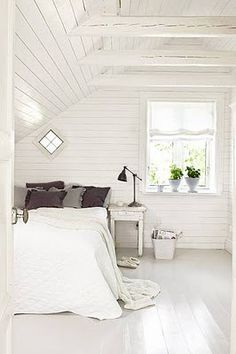 white planked walls