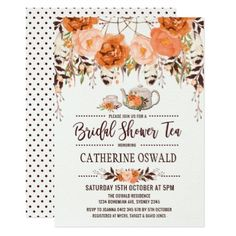 Autumn Fall Floral Boho Bridal Tea Party Invite - invitations custom unique diy personalize occasions