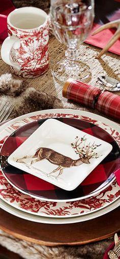 Beautiful Christmas table scape with Buffalo Plaid Plates