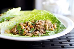 Ginger Cashew Lettuce Wraps -    I'm a sucker for this flavor combo... minus the chestnuts, this is my next must try recipe! These look yummy!