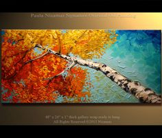 Original Birch Oil Painting Modern Oil Painting Silver Birch Tree Palette Knife Landscape from Nizamas