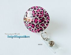 Pink  Leopard -(clear)RETRACTABLE /Swivel Reel/Spring Clip - Badge Clip BB509. $12.00, via Etsy.