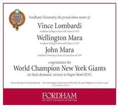 Fordham University & The New York Football Giants