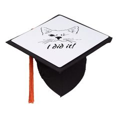 I Did it  Fun Inspirational quote Winking Cat Graduation Cap Topper #grad #graduation #inspirational #quote #graduate #GraduationCapTopper Graduation Cap Toppers, Grad Cap, Best Inspirational Quotes, Catio, Invitation Wording, Diy Face Mask, Dog Design, Spice Things Up, First Love