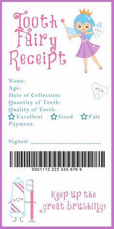 Tooth Fairy Receipt Printable. Such a cute idea!