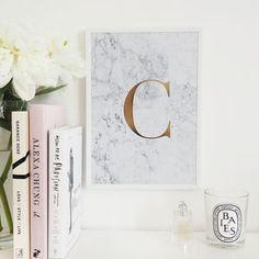 Personalised Monogram Marble Initial Foil Print