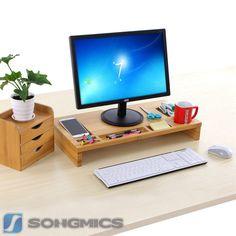 Bambus Monitorständer Notebook TV Bildschirmerhöher Schreibtischregal LLD201