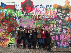 UD Fashion students spread peace and love at the John Lennon Wall in Prague, Czech Republic. #UDAbroad