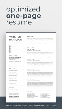 Professional resume template optimized for creating an informative and eye-catching one-page resume. Fit a lot of information onto a single page while keeping a stylish and organized look of your resume. The template pack comes with cover letter and references templates in matching designs for a complete and consistent job application. One Page Resume Template, Modern Resume Template, Cv Template, Resume Templates, Cover Letter For Resume, Cover Letter Template, Resume References, Resume Profile, Microsoft Word 2007