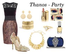 """Thanos - Party"" by scarlett-imogen-hughes on Polyvore featuring Sophie Theallet, Oscar de la Renta, Badgley Mischka, Dolce&Gabbana, Mounser, marvel, mcu and thanos"