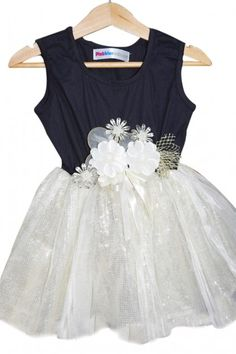 94fff2479ca Black and Golden Shimmery Net Little Princess Dress with Floral Waistband