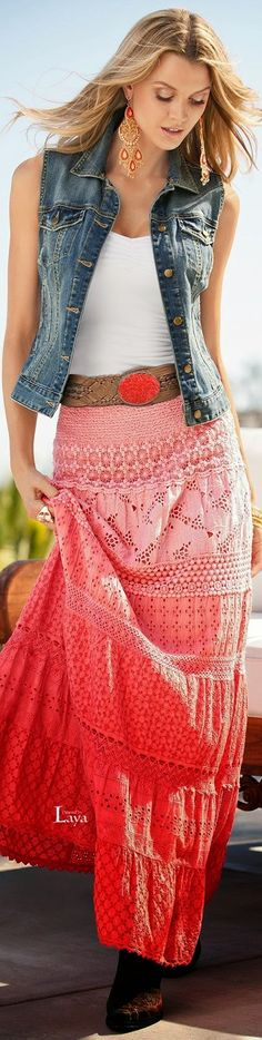 LOVE everything about this! Ombre' Summer Maxi Skirt, Jeans Vest, White Tee.