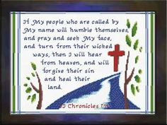 Cross Stitch If My People - II Chronicles www. Cross Stitch Charts, Cross Stitch Designs, Cross Stitch Patterns, Stitching Patterns, Cross Stitching, Cross Stitch Embroidery, Night Prayer, Embroidery Stitches Tutorial, Religious Cross