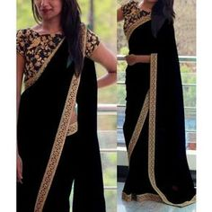 Georgette Border Work Black Plain Saree - 808A