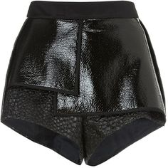 Ellery Black City Thunder Pleat Shorts (985 PEN) ❤ liked on Polyvore featuring shorts, bottoms, pants, black, graphic shorts, e l l e r y, high rise shorts, lace shorts and high waisted shorts