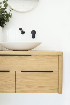 Our North Shore Timber Bathroom Vanities elegant curves and natural timber grain soften its presence within the room. Proudly made to order by RAW. Timber Bathroom Vanities, Timber Vanity, Oak Bathroom, Bathroom Floor Tiles, Bathroom Cabinets, Bathroom Furniture, Modern Bathroom, Bathroom Ideas, Bathroom Black