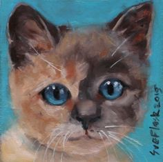 "KITTEN vi - 2015 by Sue Flask ORIGINAL PAINTING Oil Board 4""X4"" ART CAT Animal #Miniature"