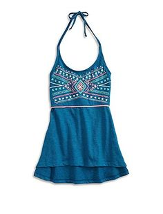 Bohemian halter top featuring slim straps, a draped silhouette and colorful…