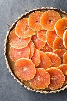 Healthy Almond Chocolate Caramel Orange Tart