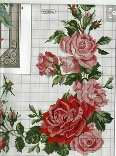 This Pin was discovered by Gül Cute Cross Stitch, Cross Stitch Borders, Cross Stitch Rose, Cross Stitch Flowers, Cross Stitch Charts, Cross Stitching, Cross Stitch Embroidery, Hand Embroidery, Cross Stitch Patterns