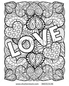 hearts with love in doodle, zentangle style adult coloring page