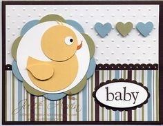 Punched Duck Baby boy card by Julie Bug - Cards and Paper Crafts at Splitcoaststampers