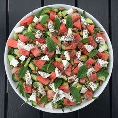 Vandmelonsalat Healthy Cooking, Healthy Eating, Cooking Recipes, Food N, Food And Drink, Waldorf Salat, Norwegian Food, Vegetarian Recipes, Healthy Recipes