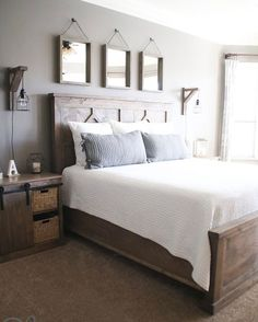 Most Beautiful Rustic Bedroom Design Ideas. You couldn't decide which one to choose between rustic bedroom designs? Are you looking for a stylish rustic bedroom design. We have put together the best rustic bedroom designs for you. Find your dream bedroom. Modern Farmhouse Bedroom, Farmhouse Master Bedroom, Farmhouse Style, Rustic Farmhouse, Bedroom Rustic, Modern Rustic Bedrooms, Farmhouse Bedroom Furniture, Master Bedroom Furniture Ideas, Contemporary Bedroom