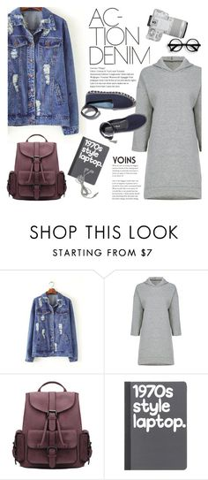 """Action, denim!"" by purpleagony ❤ liked on Polyvore featuring M. Gemi, Eos, BackToSchool, casualoutfit, denimjackets, yoins and loveyoins"