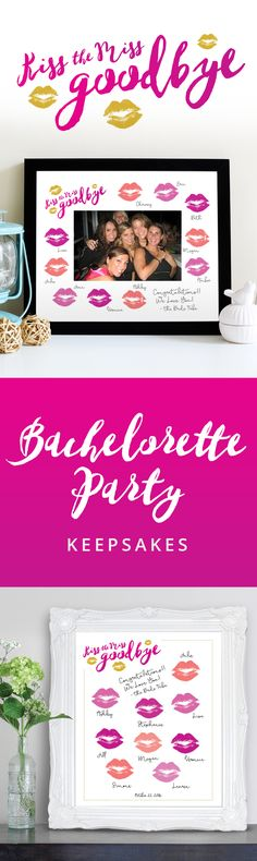 Bachelorette Party Ideas: Kiss the Miss Goodbye DIY Printable Keepsakes. Give your bride a gift to remember her last night out with the girls. #bachelorette #party #kisssthemissgoodbye #bridetribe #wedding