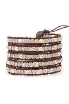 White Pearl Mix Wrap Bracelet on Brown Leather | Talulah Lee