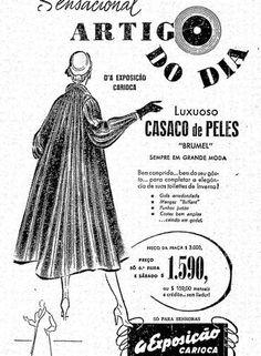 Clima. Até casacos de pele eram oferecidos nos magazines cariocas OS ANÚNCIOS DE MODA DOS ANOS 50
