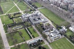 An aerial view of Kensington Palace in West London. William and Kate and their children Pr...