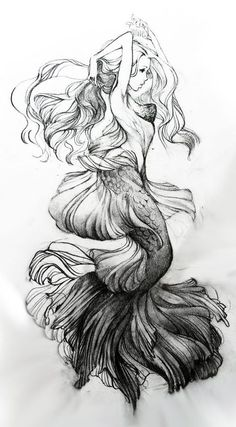 Русалка mermaid dibujos de sirenas, tatuajes de sirenas и arte de sirenas. Desenho Tattoo, Mermaid Tattoos, Capricorn Mermaid Tattoo, Pisces Tattoo Designs, Drawing People, People Drawings, Mythical Creatures, Art Inspo, Art Reference