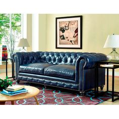 Shop Joss & Main for your Jordana Leather Sofa. Fall in love at first site with completely handmade Bustam Rustic Blue Leather Sofa. The smooth lines of this classic design are accented by individually hand-applied nail head trim and gorgeous button tufting on the back and arms, while the remova...