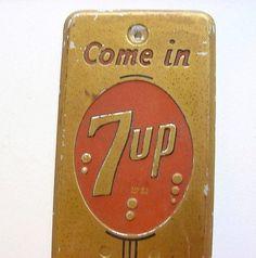 Vintage 7-Up Door Push Signs
