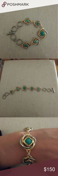 "3.75ctw Genuine Turquoise Bracelet 18k white and yellow gold filled?bracelet contains 3.75ctw of genuine turquoise.?Total weight for this bracelet is 17.8 grams.?This Bracelet is 7.5"" long. Jewelry Bracelets"
