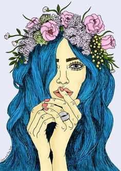Ethereal Azure illustration by Clare and the Bear. ALL RIGHTS RESERVED. #clareandthebear #clareannenield #bluehair #art #illustration #pastelhair #flowercrown #flowers #beauty #hair #bluehairdontcare #fashion #longhair #portrait #fashion illustration #ethereal #whimsical #bohemian #etherealazure #womenswear