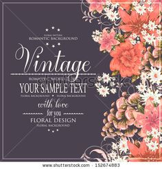 Invitation or wedding card with abstract floral background. by Wedding invitation cards, via Shutterstock CONTACT hypermarket on etsy to order