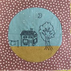 This is my version of Splendid Sampler block 69 by @bijoulovely I had a vision that this is a round window that is looking to a yard by night. So some blackwork to make it happen. #splendidsampler #thesplendidsampler #quiltblock #tilkkublokki #embroidery #blackwork #kirjonta @suomenkadentaidot