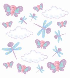 Kit adesivo decorativo infantil com: 8 borboletas, 7 libélulas, 3 nuvens.  Exatamente como na imagem. R$30,00