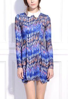 #SheInside  Blue Abstract Print Contrast Collar Petal Dress