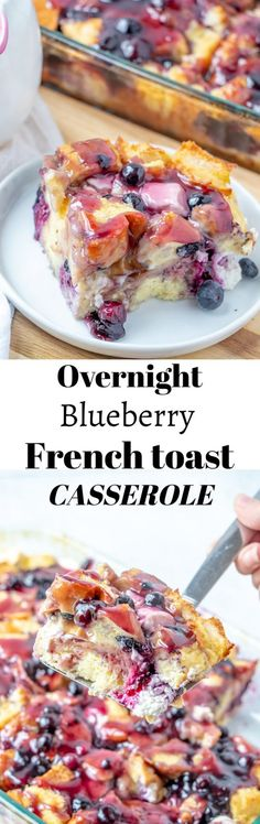 Classic Overnight Blueberry French Toast Casserole is the perfect breakfast or brunch dish, easy potluck recipe, dish to pass at a shower, or a holiday breakfast idea! What's For Breakfast, Perfect Breakfast, Breakfast Dishes, Breakfast Recipes, Breakfast Casserole, Casserole Dishes, Mexican Breakfast, Pancake Recipes, Breakfast Sandwiches