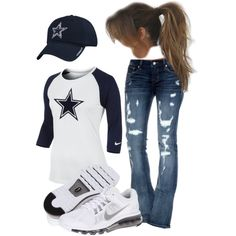 Love love love love these jeans!!! Dallas Cowboys Game, Dallas Cowboys Outfits, Cowboy Outfits, Cowboys 4, Football Game Outfits, Dallas Game, Dallas Cowboys Nails, Cowboy Gear, Cowboy Games