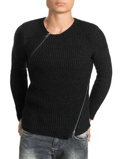 69Asymmetric Zipper Fitted Sweater by Ron Tomson at Gilt