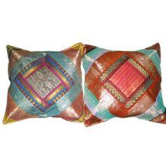 2 Cushion Cover Rust Brown Vintage Silk Sari Toss Pillow Shams: Amazon.com: Home & Kitchen