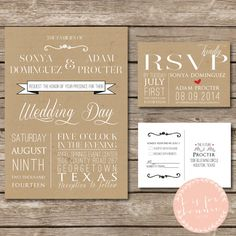 Modern Rustic Kraft Wedding Invitation Suite - Printable