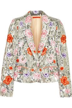 Alice   Olivia Floral-embroidered sequined silk-satin jacket | THE OUTNET