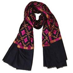 House of Wandering Silk - Pakistani silk-embroidered justi shawl (PK02)